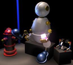 �_踏消防栓的�C器小人maya模型
