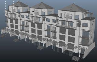 联排别墅maya模型