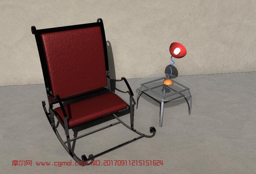 铁艺摇椅+玻璃方桌家具