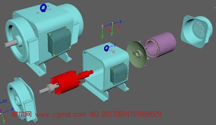直流电动机,拆解内部构造maya模型