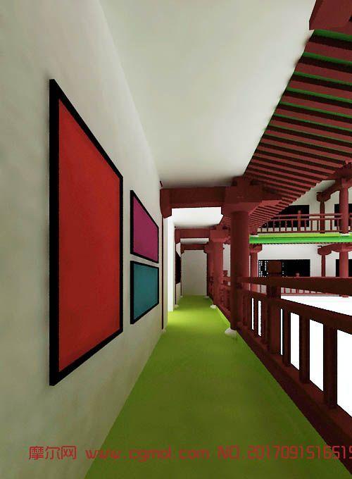 中式回廊一角,古建长廊