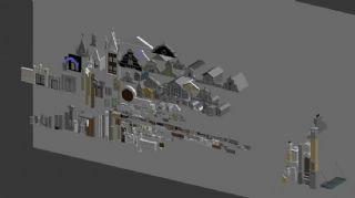 欧式元素的线脚,窗,柱子,栏杆,屋顶,雕花等100多种建筑构件