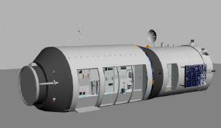 科技馆空间站max模型,带内部结构