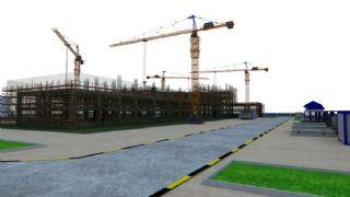 建筑施工工地阶段场景,丢失部分贴图