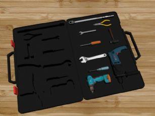 钳子,扳手,螺丝刀,电钻的工具箱