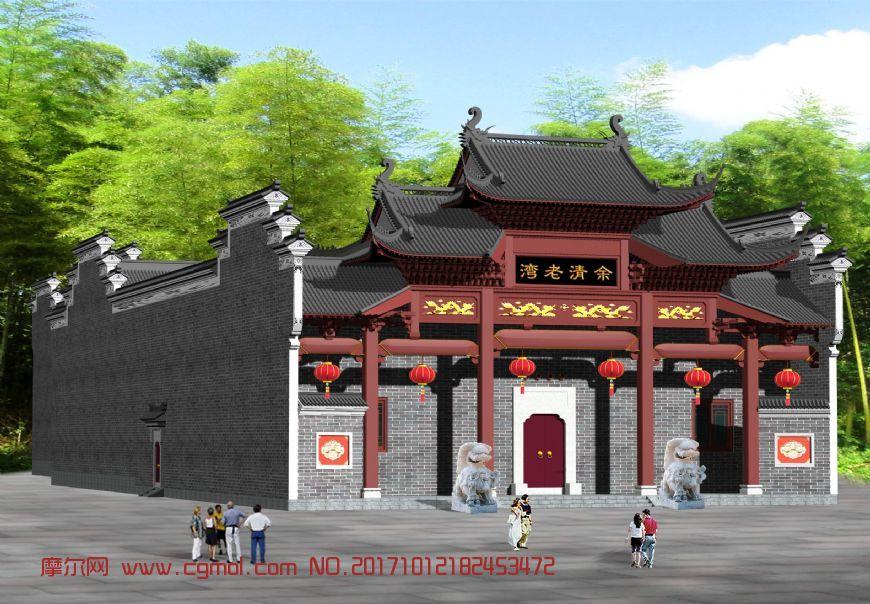 中式古典祠堂,无贴图