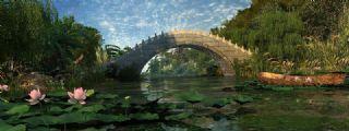 公园园林荷花池+拱桥+木船古桥(网盘下载),需要MultiScatter插件