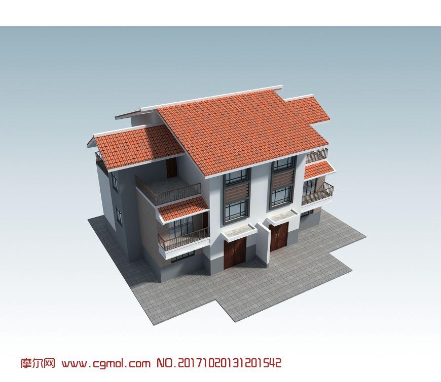 描述:新农村 农房 别墅 独栋 民房 住宅 楼房 两层 阳台 三层 联排