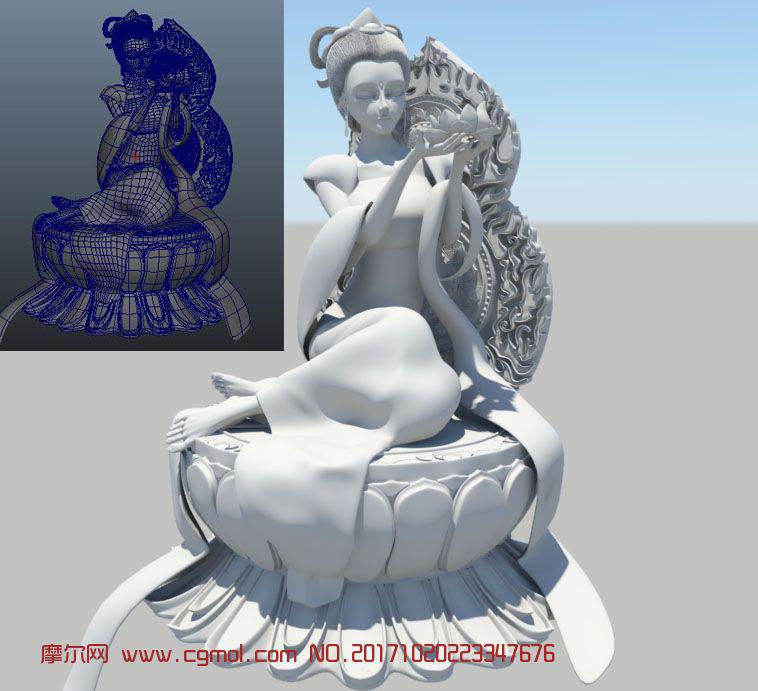 高精细莲花台侍女,菩萨,美女游戏maya模型