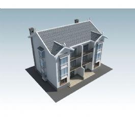 三层联排新农村农房模型