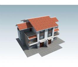 三层联排带阳台新农村农房