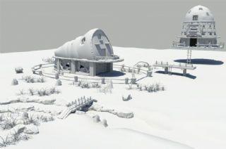 未来小村落,小村庄,悬浮房屋maya模型