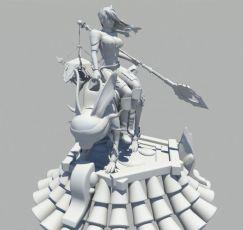 带坐骑的长枪战士,次时代maya模型