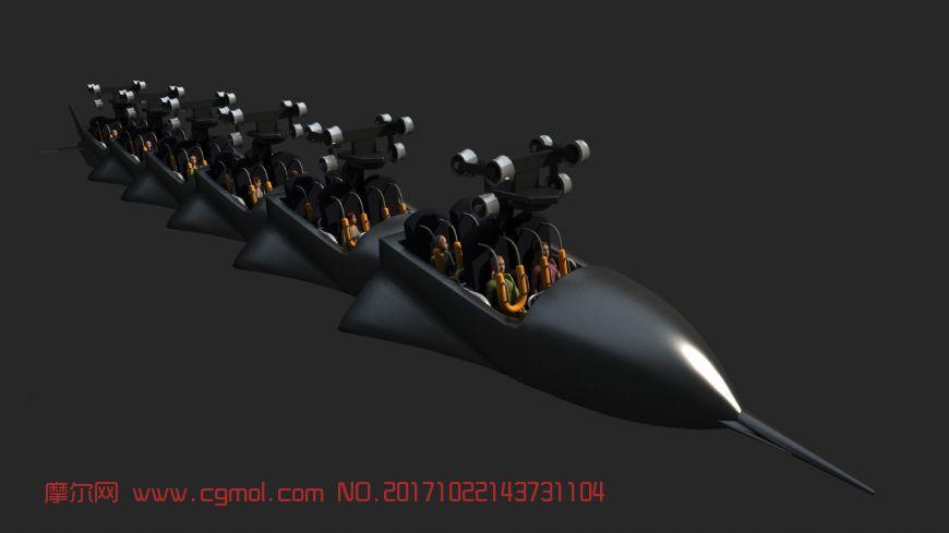火箭样式的过山车,悬挂在轨道上
