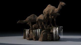 骆驼雕塑,有动态流水贴图