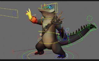 卡通鳄鱼战士,带绑定,带贴图