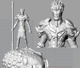 大圣归来+佛头底座stl模型,3D打印