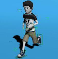 卡通男孩子跑步绑定动画