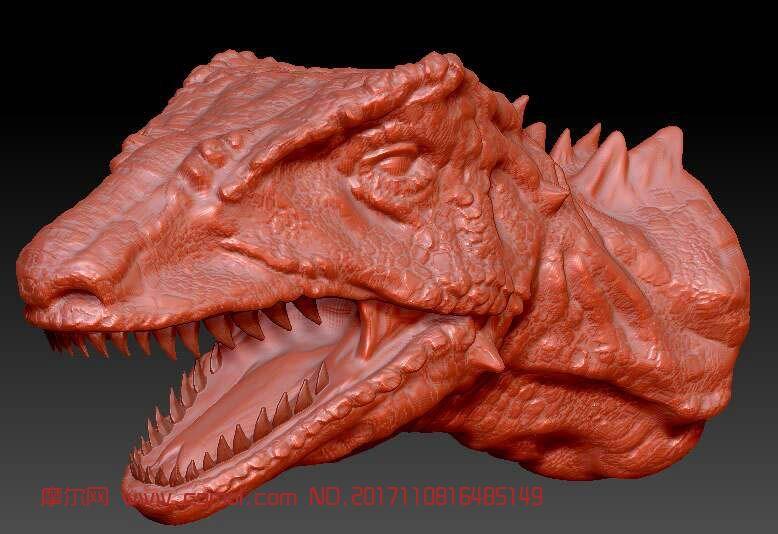 精细恐龙头部雕刻zbrush模型