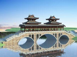 中式古建廊桥+拱桥
