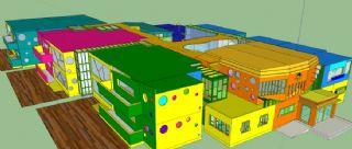 五颜六色的教学楼幼儿园