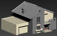 新中式别墅+车库
