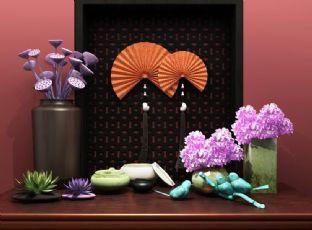 睡莲,插花等东南亚室内陈设