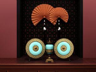 瓷器摆件,扇子等东南亚室内陈设