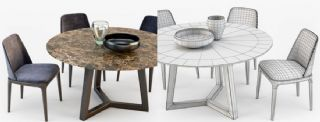 石桌+器皿+椅子组合max2011模型