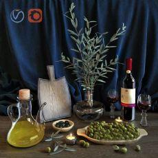 餐桌上的红酒,绿豆,蜡烛摆设max,obj双格式