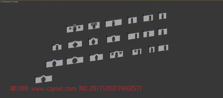 20个中式月门洞,围墙,拱门