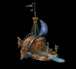 手绘风格的船屋