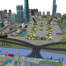 广州城市三维建筑模型加材质