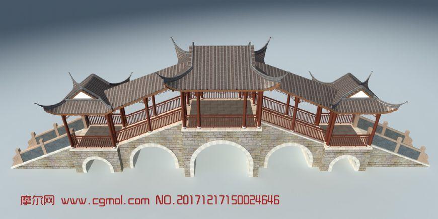 南方苏式古建,风雨桥,跨河虹