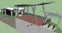 自行车棚+共享单车+连廊