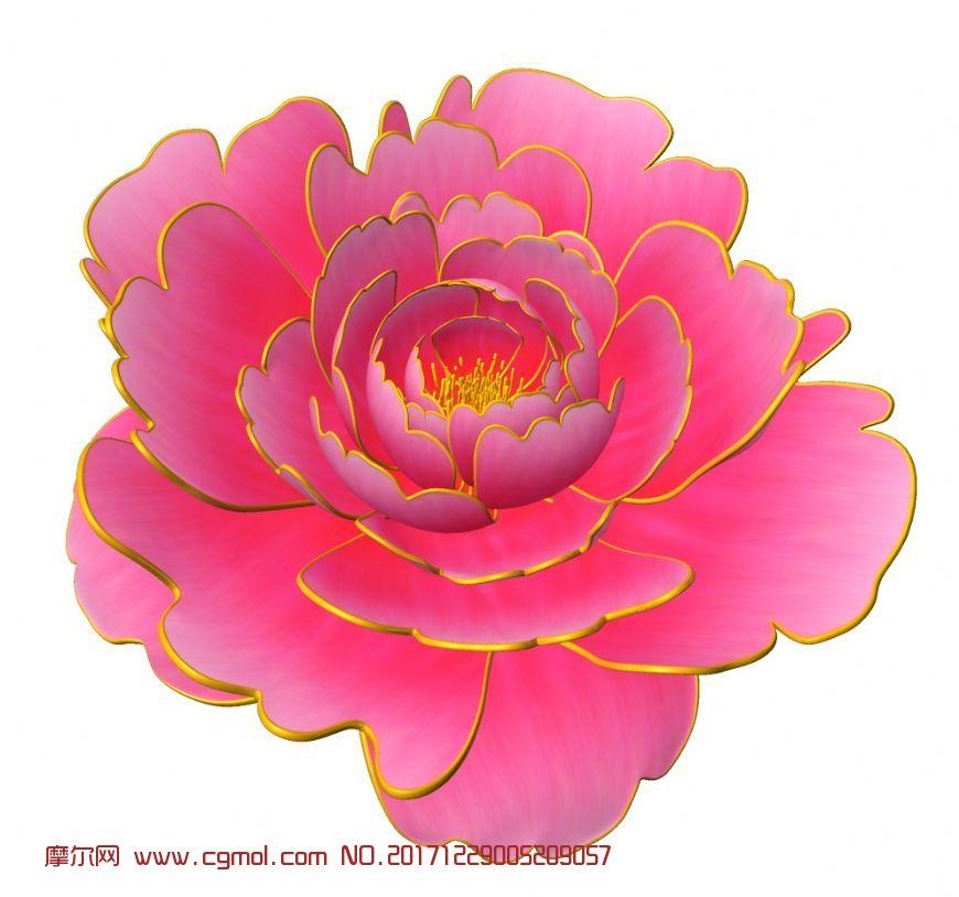 牡丹花,开花动画maya作品,有红,粉,绿,黄四种贴图
