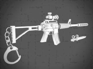 M41卡宾枪,钥匙扣,消音器,军刀