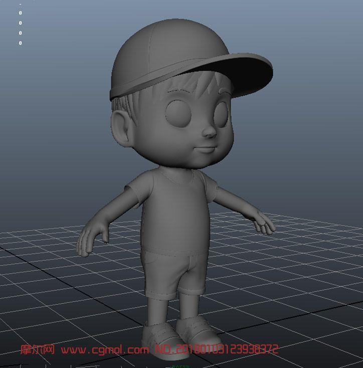 现代戴帽子的小男孩,Q版角色