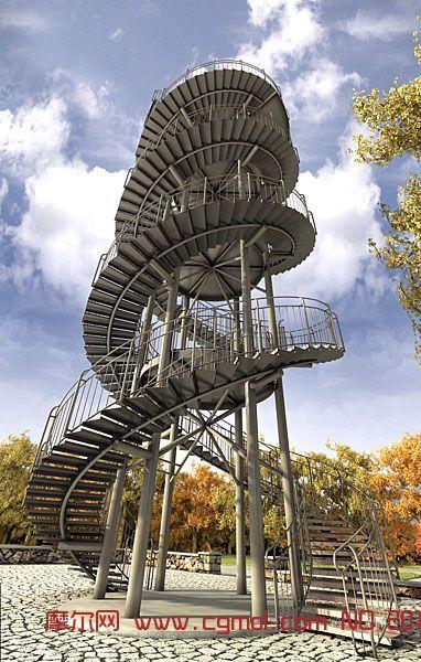 大钟电器_旋转楼梯的景观塔max模型,现代场景,场景模型,3d模型下载,3D模型网 ...