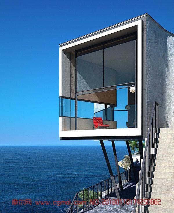 海景房,海边别墅max模型