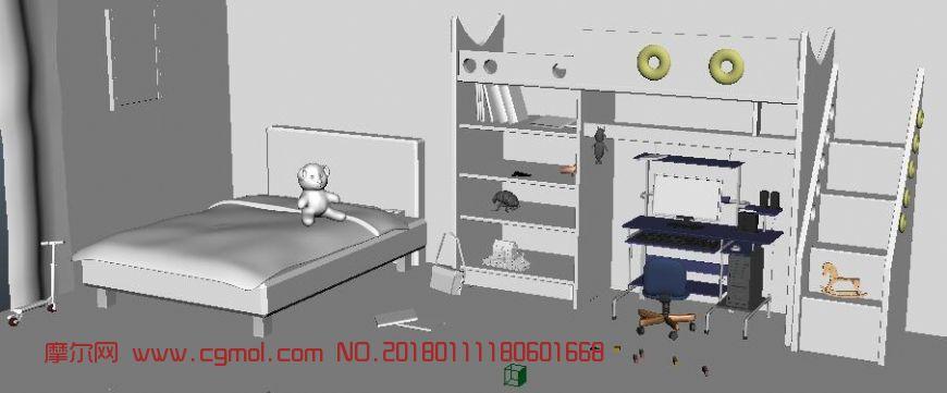卡通儿童卧室maya模型