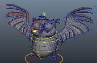 带绑定的猫头鹰maya模型
