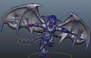 游戏中持剑的翅膀怪物BOSS,带刺剑攻击动画