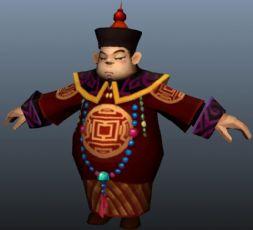 清朝臣子,大官maya游戏模型