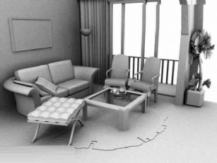 一个Maya客厅+盆景