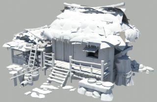 茅草屋,农村房子+猪圈maya模型