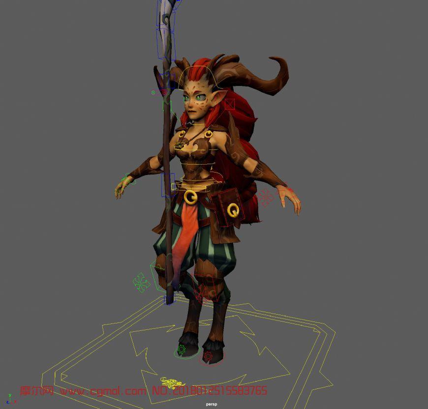 羊人战士,怪物maya模型+绑定+贴图