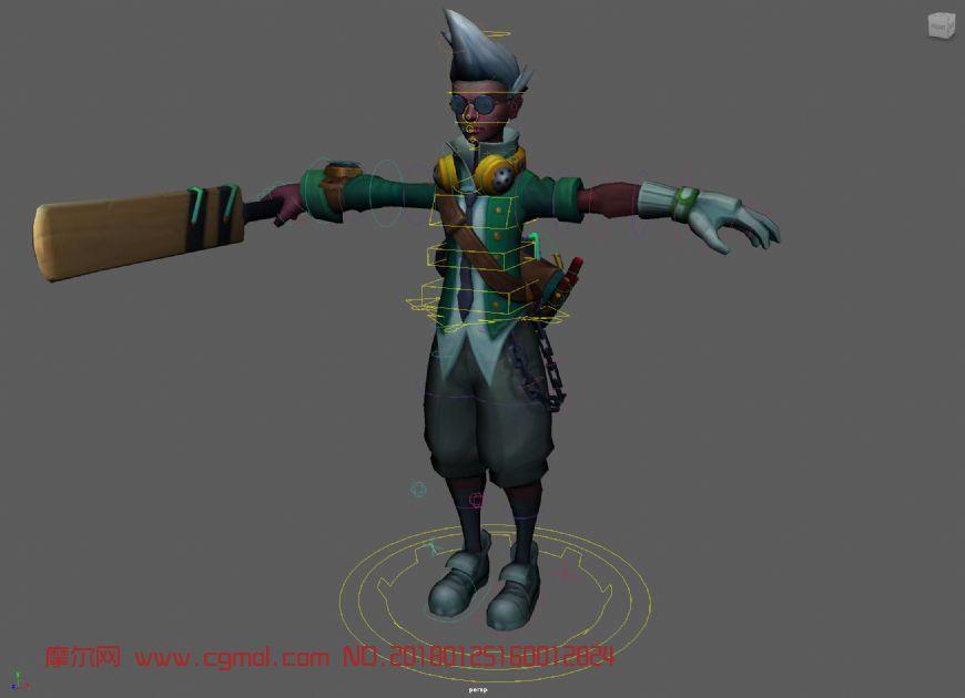 LOL艾克Ekko皮肤maya模型,带绑定+贴图
