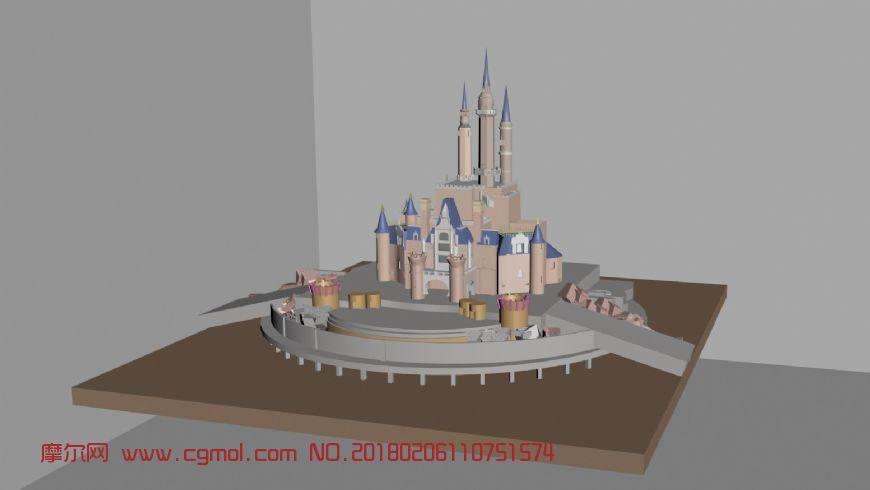 上海迪士尼城堡maya模型,国外建筑,建筑模型,3d模型