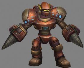 钻机机器人max模型,带攻击,走路等动画
